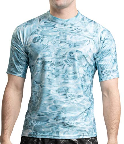 Rash Guard Men Swim Shirt: Mens Short Sleeve Sun Protection Surf Camo Rashguard: Aqua Sky: Size 4XL