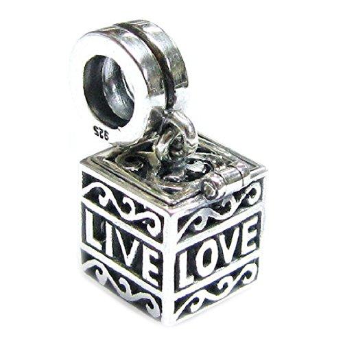 Heart Locket Slide (Authentic Nagara Sterling Silver Love Laugh Live Heart Memory Locket Dangle Slide-on Bead For European Charm Bracelets)
