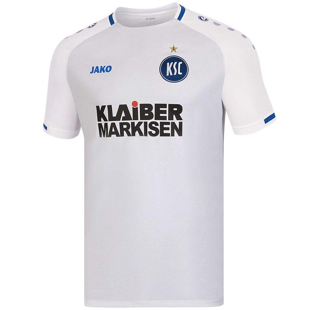 Jako Fußball Karlsruher SC Away Trikot 2018 2019 Herren KSC Auswärtstrikot Kurzarm weiß Gr XXL