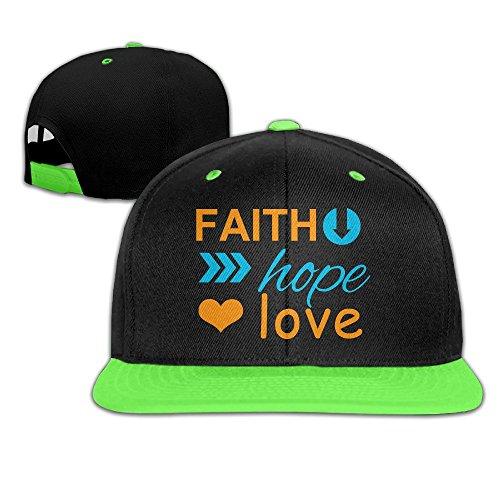 Borielly Boy's Faith Hope Love Contrast Baseball Cap KellyGreen (Rorschach Hat)