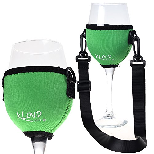 (Beautyflier Assorted Colors Wine Glass Insulator/Drink Holder/Neoprene Sleeve with Adjustable Neck Strap For Wine Tasting Festival)