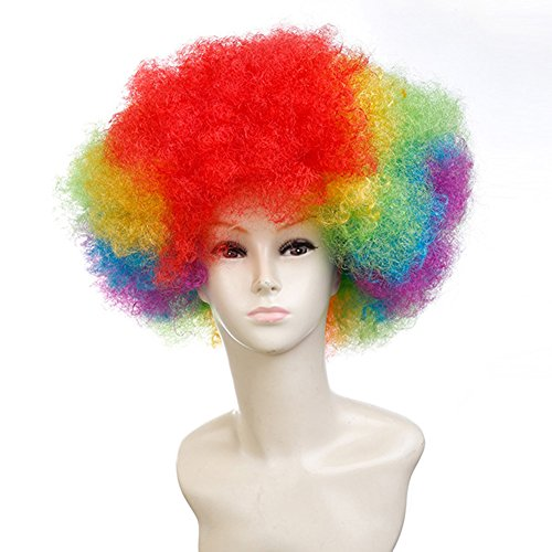 Multi Color Curly Halloween Cosplay Costume Party Clown Wig - Kids Multi Color Clown Wig