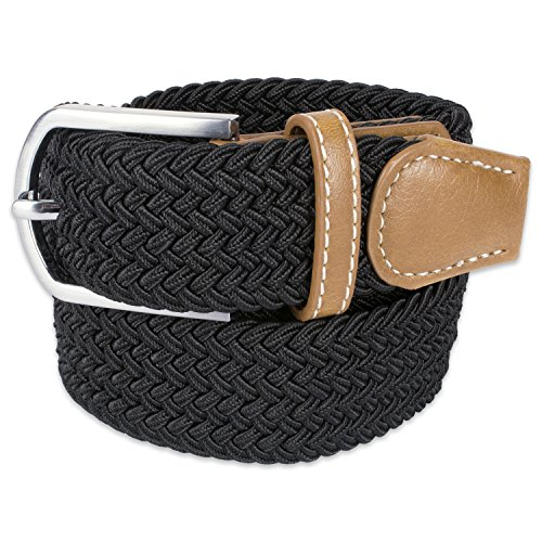 E-Living Store Men's 32mm Woven Expandable Braided Stretch Belts, (Available in Multiple Colors & Sizes), Black, XX-Large (Waist Size 46-48