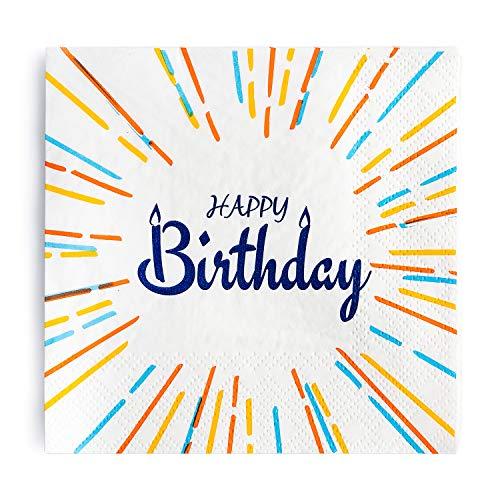 Crisky 100 Pcs Happy Birthday Napkins, Birthday Party Decoration, Birthday Dinner Celebration Party Favor Supplies Decorations 3-Ply ()