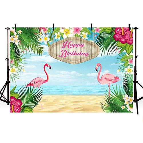 MEHOFOTO Summer Beach Tropical Flamingo Theme Photography Backdrop Props Happy Birthday Party Decoration Sunflower Floral Blue Sea Photo Studio Booth Background Banner 7x5ft