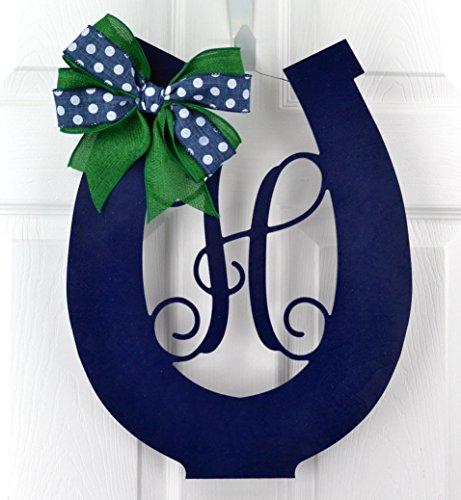 Horses Green Emerald - Kentucky Derby Party Decor | Wooden Horseshoe Monogram Door Hanger | Navy Blue Emerald Green