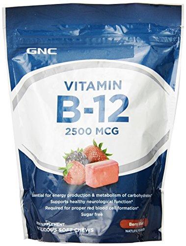 GNC Витамин B-12 2500 MCG Мягкие жвачки, Берри Blast, 60 шт