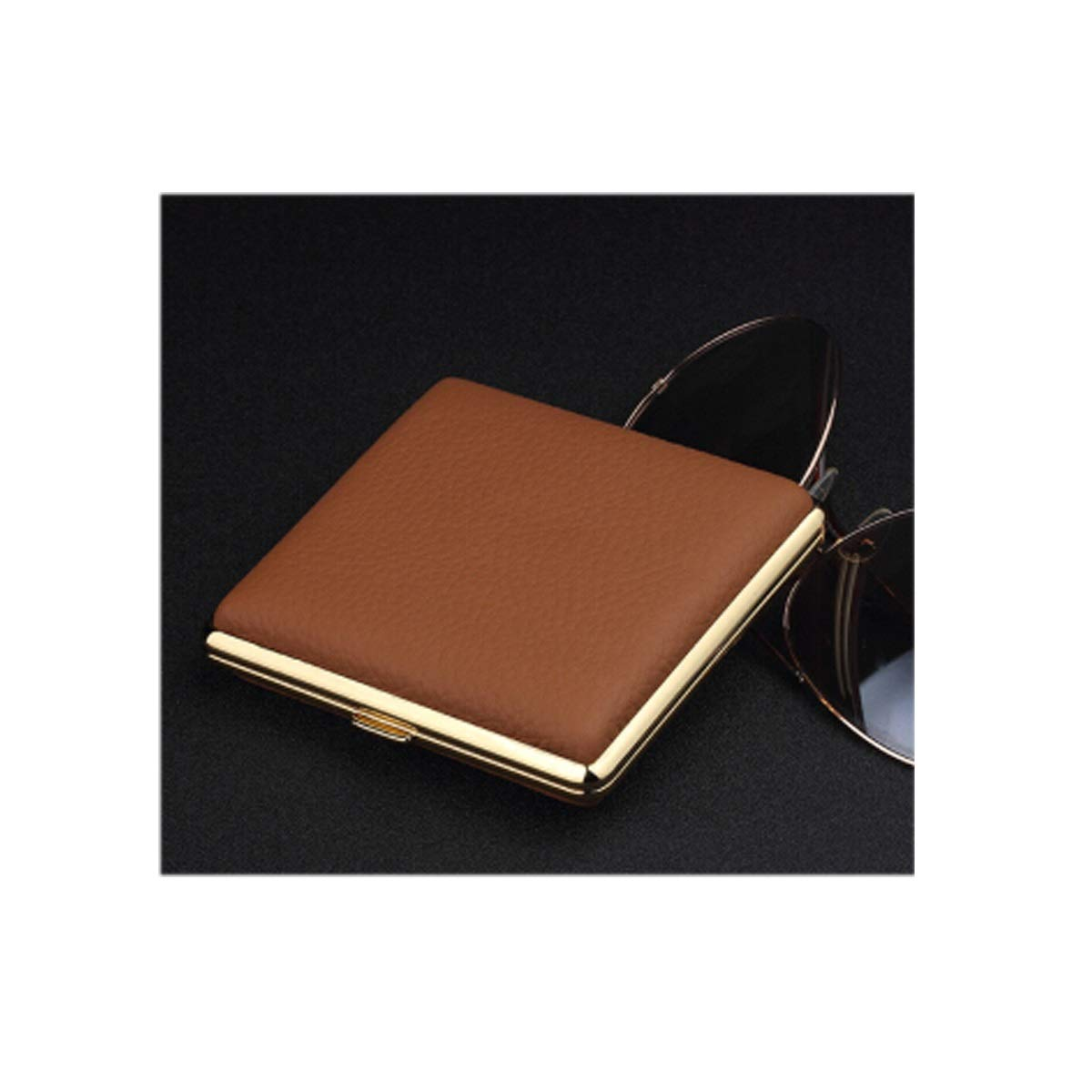 CHENTAOCS 20-Piece Leather Cigarette Case, Brown Lychee Cigarette Case, Stainless Steel Leather Case, 20 Ultra-Thin Moisture-Proof and Portable, Black Products (Color : Brown)