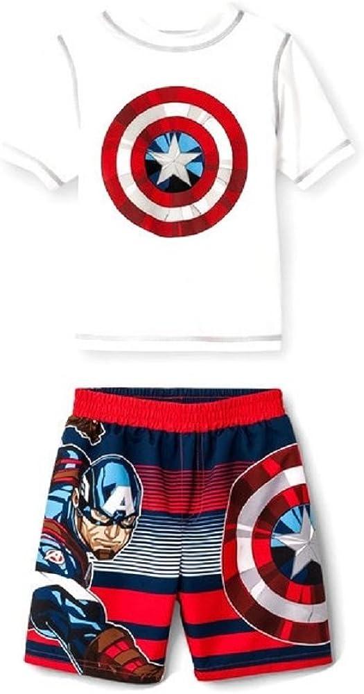Marvel Avengers Boys Swim Trunks and Rash Guard Set Toddler//Little Kid//Big Kid UPF 50 Sun Protection
