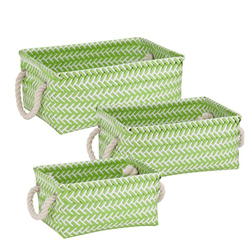Honey-Can-Do STO-06685 Zig Zag Set of Nesting Baskets with Handles, Set of 3-Pack, Green