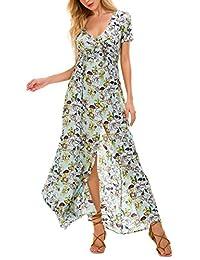 Urban CoCo Women's Boho Floral Print Sexy Single Breasted Split Maxi Beach Dress