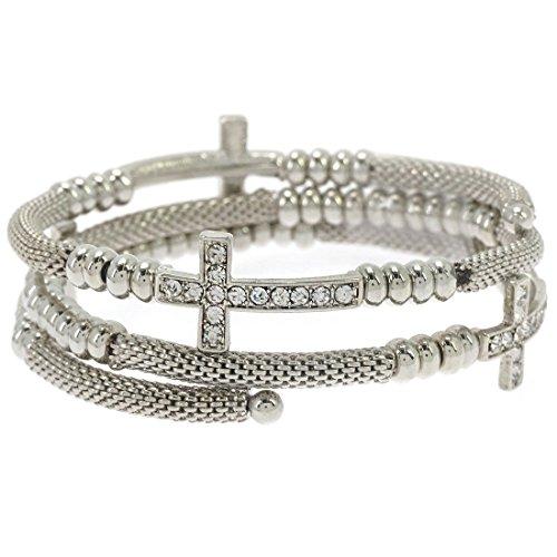 Sideways Crystal Cross Fashion (Glamorous Crystal Pave Cross Wrap Coil Mesh Bangle Bracelet (Rhodium)