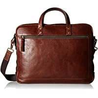 Fossil Men's Haskell Double Zip Leather Brief Workbag