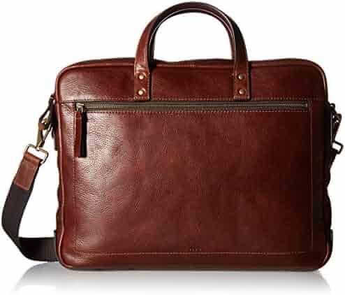 Fossil Mens Haskell Double Zip Workbag Cognac