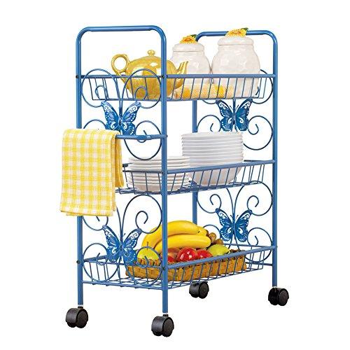 Blue Butterfly 3-Tier Rolling Metal Shelf Cart with Towel Rack, Blue