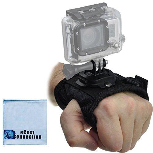 回転手首ストラップマウントfor all GoPro Heroカメラ+ ecostconnectionマイクロファイバー布   B010NZOOF8