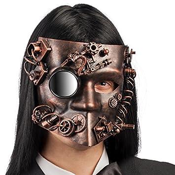 Carnival Toys - Máscara veneciana steampunk de plástico duro cobre con espejo, color marrón (