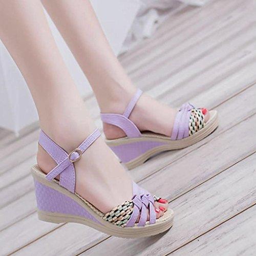 Femme Cheville Boucle À Chaussures Ete Sandales Compensées De La Violet Plateforme Femmes Mode Xinxinyu Sangle 0v7Exvn