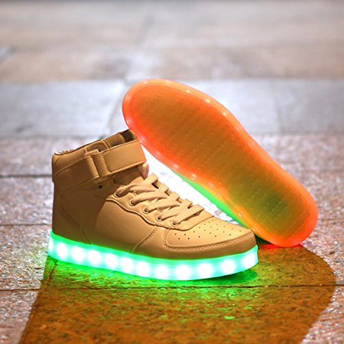 DoGeek Unisex Light up Shoes For Adult 7 Colors Led Shoes High Tops (Choose Half Size Up) White OoOeEL