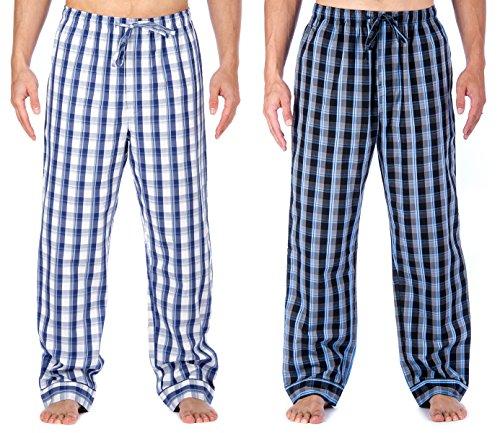 Mens Premium Cotton Lounge Pants - 2p [Blue/Grey - Blue/White Plaid] - Xlarge