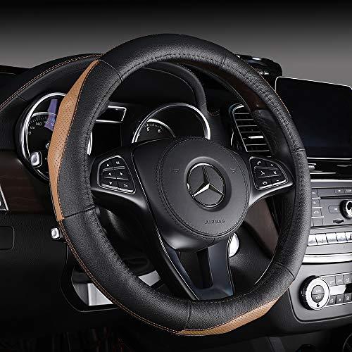 DC Steering Wheel Cover Anti-Slip Genuine Leather 38cm/15inch ()