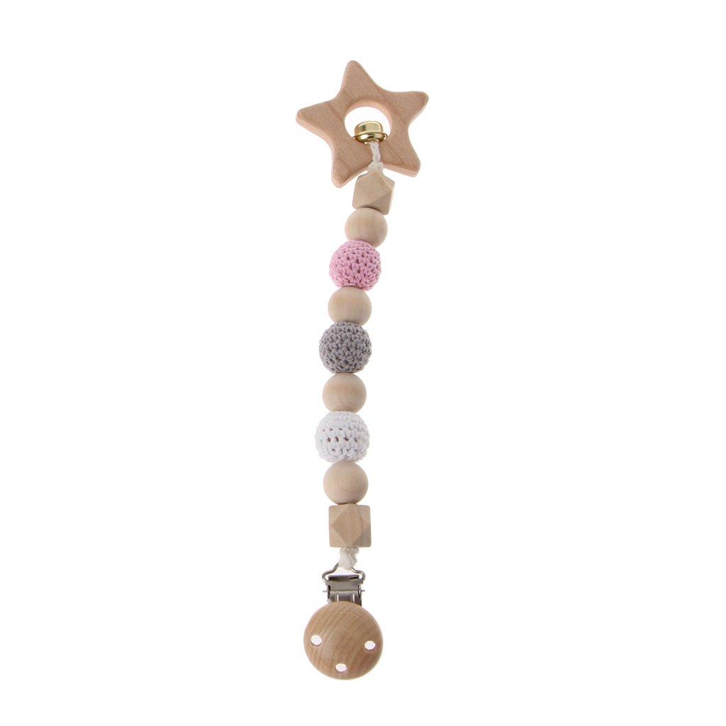 exing Chupete Cadenas Cadena para chupete Chupete banda, Baby regalo para nacimiento, bautismo – Madera, 26.5 cm diseño de estrellas