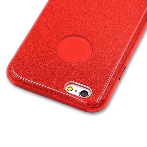 für iPhone 6S Plus Hybrid 3 in 1 Einzigartig Hart Handyhülle, für iPhone 6 Plus Rüstung Stoßfest Hülle, Herzzer Luxus Bling Glitzer Schutzhülle [Hard PC + Glänzende Farbe Aufkleber Innere Schicht + We