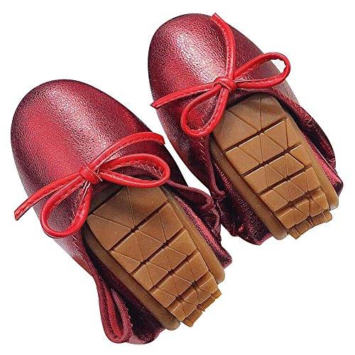 Bailarinas Zapatos rismart Plegable Mujer Vestir Rojo Centavo Cuero Bowknot con Ponerse Mocasines x0rwvap04q