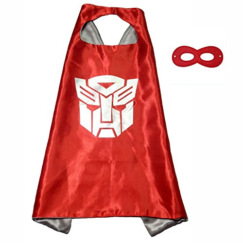 FASHION ALICE Superhero Superman CAPE & MASK SET,Halloween Costume Cloak for Child (Transformers,Red) -