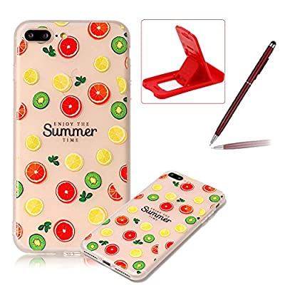 Clear Case for iPhone 7 Plus,Soft TPU Cover for iPhone 8 Plus,Herzzer Ultra Slim Pretty [Colorful Pattern] Silicone Gel Bumper Flexible Crystal Transparent Skin Protective Case