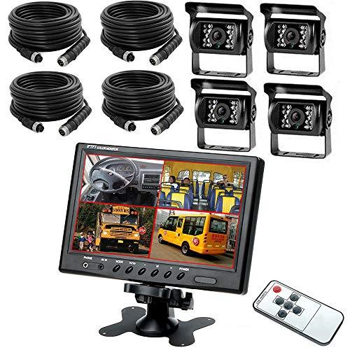4 CH Split achteruitrijcameraset met 9 inch LCD-monitor, 18IR nachtzicht & automatische omschakeling met trigger, voor…