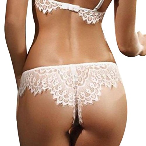 Sunsee Women Seamless Lace Panties Briefs Underwear Lingerie Knickers Thongs G-String (S, White)