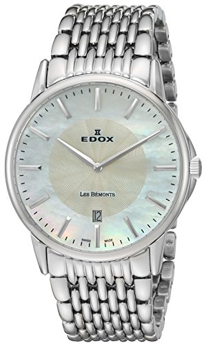 Edox Men's 56001 3M NAIN Les Bemonts Analog Display Swiss Quartz Silver Watch