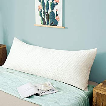 Decroom Memory Fiber Full Body Pillow -Zipped Bamboo Cover-Breathable Cooling for Pregnancy and Long Side Sleeper-20 x 54 inch