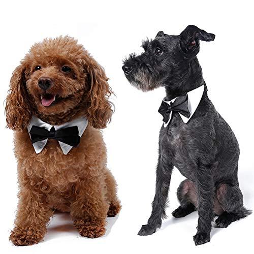 Yu-Xiang Dog Bowtie Collar with Comfortable Hook&Loop Christmas Bandana Pet Scarf Cat Tuxedo Costume for Wedding Party Halloween (XL)