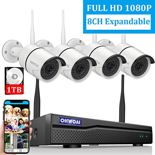 【8CH Expandable】Security Camera System Wireless Outdoor, 8 Channel 1080P NVR With 1TB Hard Drive , 4Pcs 1080P CCTV Cameras For Home,OHWOAI Surveillance Video security System,Outdoor Wireless IP Camera