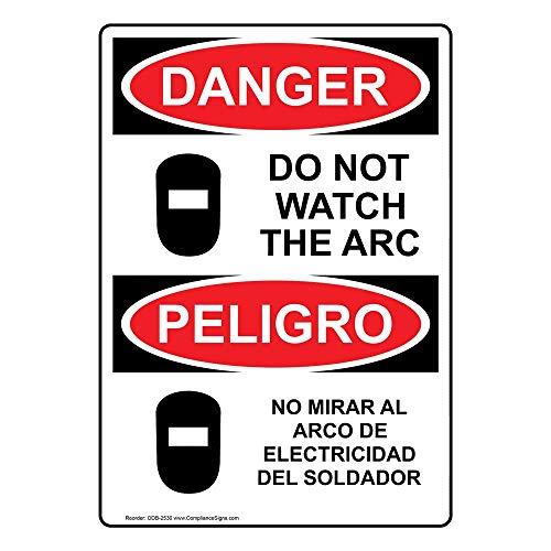 ComplianceSigns Vinyl OSHA DANGER Label, 20 x 14 in. with Welding Safety Info in English + Spanish, White: Amazon.com: Industrial & Scientific