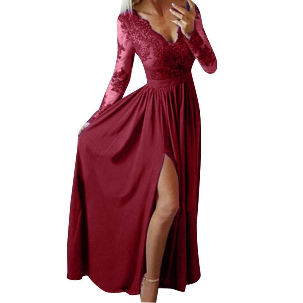 Goddessvan Women Deep V-Neck Lace Split Hem Long Sleeve Evening Party Wedding Long Dress