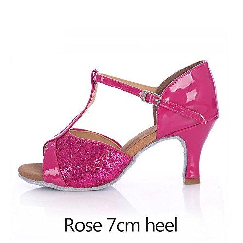 YFF Bailes latinos adultos zapatos de tacón alto de Tango Baile Salsa red 7cm heel