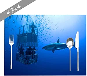Capsceoll Placemats Heat-Resistant Washable Dining Table Placemat 18X12 Inches Set of 4 Placemats, White Cage Great Shark Swims Around The for Holiday Kids and Kitchen Table Mats