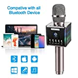 Karaoke Microphone Wireless, Domezan Bluetooth Speaker Mic with 3200mAh Samsung Battery and LED Lights, for Apple iPhone Android Smartphone PC Smart TV Home KTV