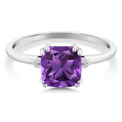 Amazon.com: 10 K oro blanco cojín púrpura amatista con ...