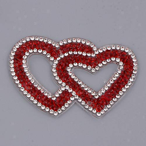 1 Pc Sequin Applique with Heart Pattern Rhinestone Patch DIY Sewing Crafts