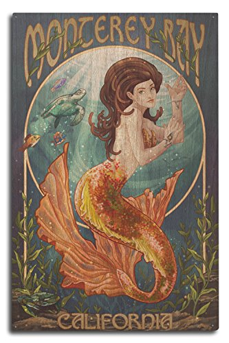 Monterey Bay, California - Mermaid (10x15 Wood Wall Sign, Wall Decor Ready to Hang)