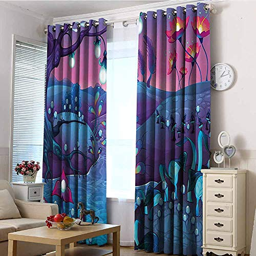 VIVIDX Waterproof Window Curtains,Mushroom,Blackout Window Curtain 2 Panel,W108x72L Blue Fuchsia