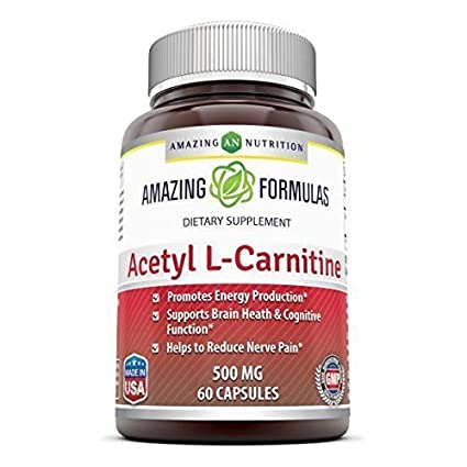 Amazing Nutrition Acetyl L-carnitine 500 Mg 60 Tablets - Enhances Alertness and Mental Focus