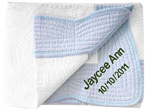 AshopZ Personalized Baby Blanket Gifts Large Custom Blankets, White-Blue, 36 inches x48 inches