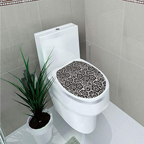 Toilet Sticker 3D Print Design,Gothic,Intricate Romantic Pattern with Feminine Design Elements Outline Swirls Blossoms,Beige Black,for Young Mens,W12.6