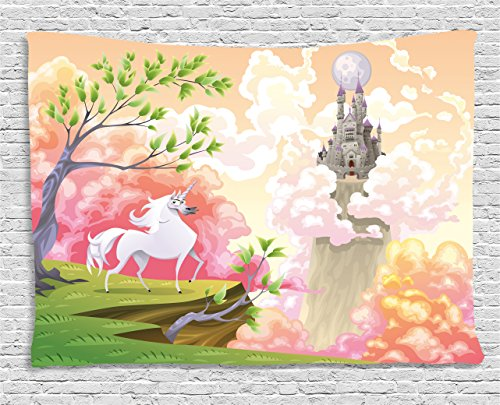 (Ambesonne Cartoon Decor Tapestry by, Fantasy World with Unicorn and Gothic Castle on Air Princess Dream Image, Wall Hanging for Bedroom Living Room Dorm, 80WX60L Inches, Coral Green)
