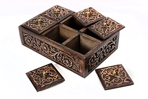 store indya wooden tea bag holder storage keepsake box hand carved with six compartments. Black Bedroom Furniture Sets. Home Design Ideas